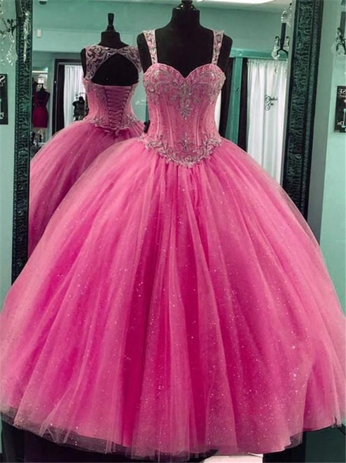 Angelsbridep Spaghetti Strap Quinceanera Dress 2019 Glitter Crystals Corset Tulle High Qulaity Sweet 16 18 Ball