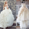 Luxury Spaghetti Straps Ivory Wedding Dresses 2016 Tiered Ruffled Tulle Big Ball Gown Wedding Dress Beautiful Bridal Gowns PG28