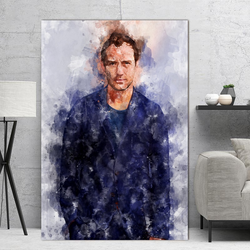 Jude Law Movie Watercolor Poster Art Canvas Painting Home Decor image