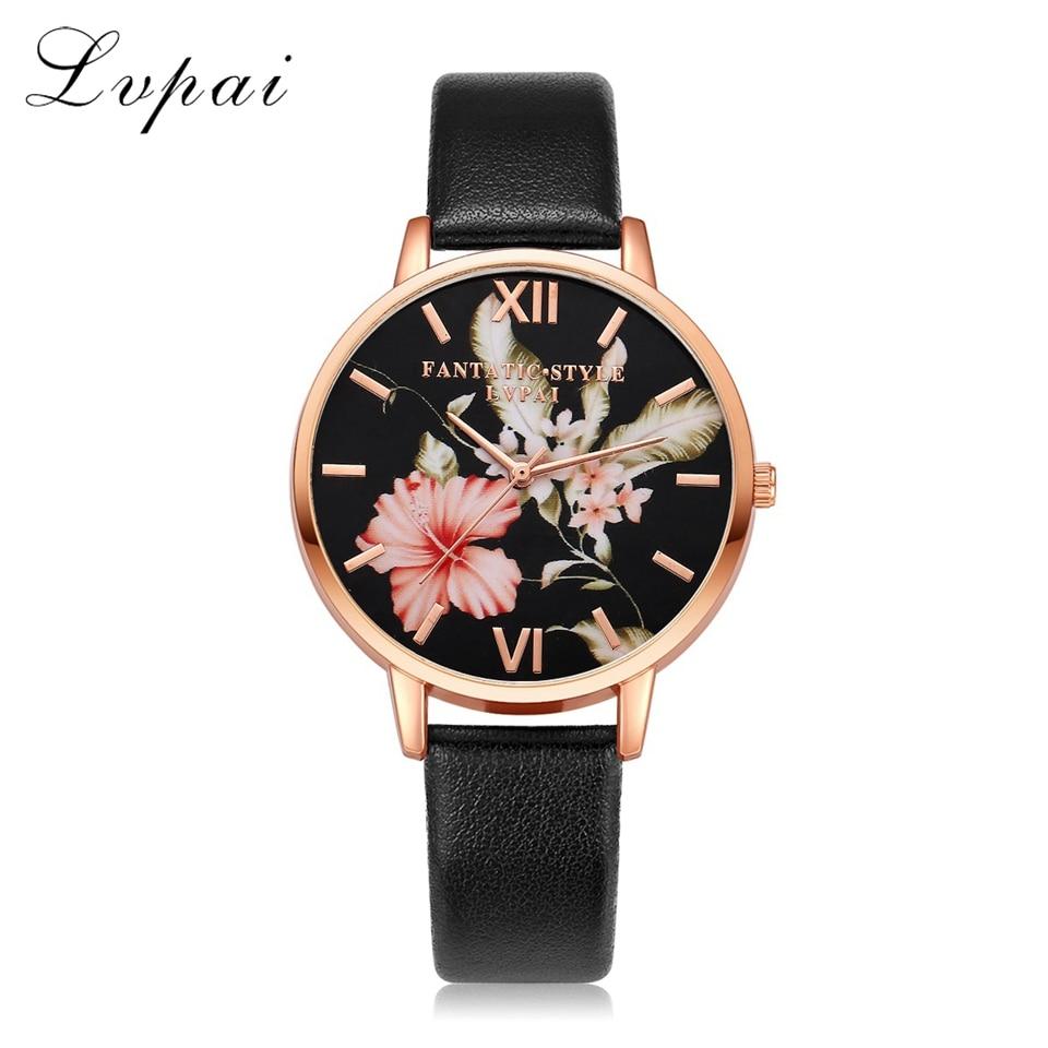 Lvpai Brand Women Bracelet Watch Fashion Rose Gold Flowers Leather Simple Women Dress Watches Luxury Business Clock Watch