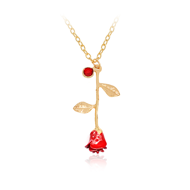 Red rose flower pendant necklace romantic birthstone alloy choker red rose flower pendant necklace romantic birthstone alloy choker necklace women jewelry charms necklaces accessories 2017 mozeypictures Choice Image