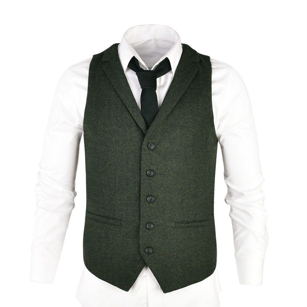 VOBOOM Woolen Tweed Suit Vest For Men Green Herringbone Slim Fit Premium Wool Blend  Single-breasted Waistcoat 018
