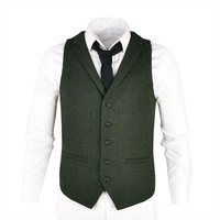 VOBOOM Woolen Tweed Suit Vest for Men Green Herringbone Slim Fit Premium Wool Blend Single breasted Waistcoat 018