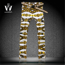 Trousers male colored drawing strap flower print pants mens elastic jeans men top brand outerwear imported