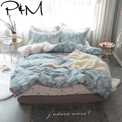 P&M Flamingo and Leaves print Duvet cover sets Princess style Bedding Set 100% cotton Queen Twin size