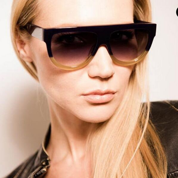 Fashion Sunglasses Women Brand Design Gradient Sun Glasses Female Rivet Shades Flat Oversize Shades Sunglass UV400 M100 2