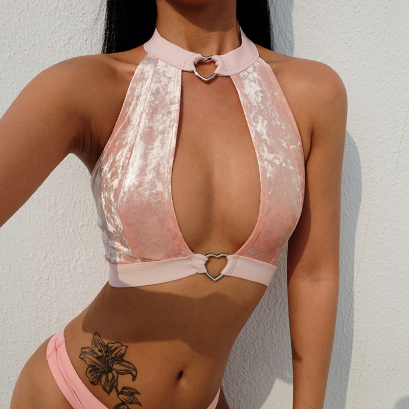 2019 Hot Sale Pink Velvet Halter   Top   Female Sexy Backless Heart Fashion   Tank     Top   Bra Summer Sexy Hollow Out   Tops   Women clothes
