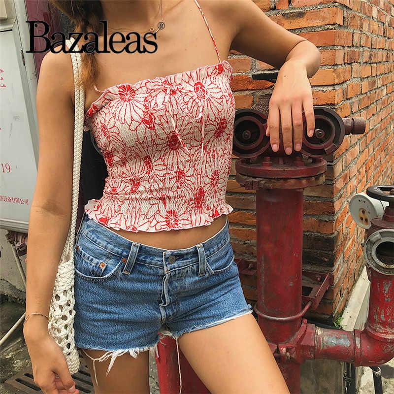 Bazaleas Модный Эластичный красный цветочный принт женский топ на бретелях Франция Центр Лук женский короткий топ тонкий укороченный топ Прямая доставка