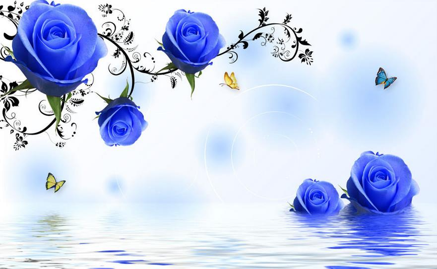 3d Stereoscopic Mural Wallpaper Tv Backdrop Simple And Stylish Blue Roses 3d Flower