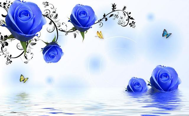 TV Backdrop Simple And Stylish Blue Roses 3d Flower Wallpaper Stereoscopic Home Decoration