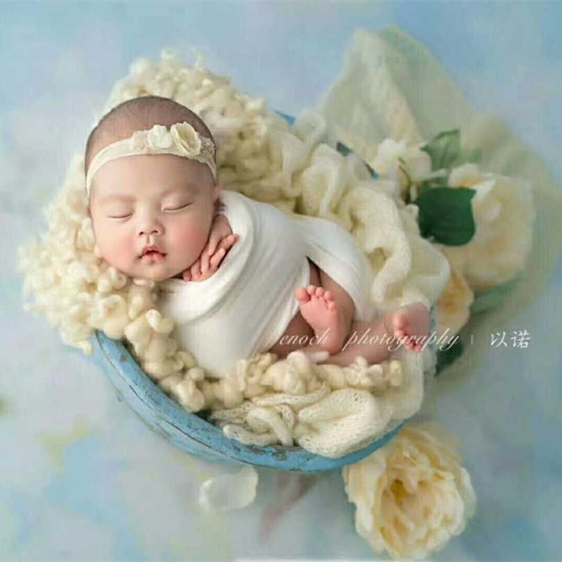 Baby prop blanket Ready to ship 23x21 inches blue gray Photo prop acrylic curly fur layer