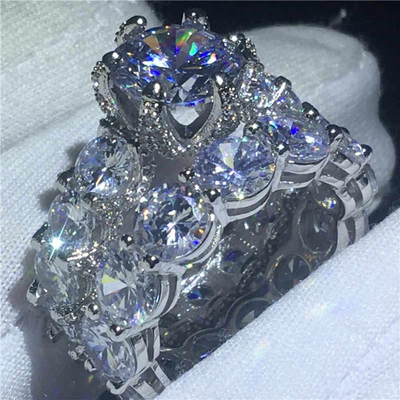 Conjuntos de noiva do vintage anel 925 prata esterlina pave configuração aaaa cz noivado anéis de banda de casamento para mulheres