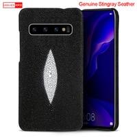LANGSID Genuine stingray leather phone Case for LG G6 G7 G5 luxury Black case fish skin capa for LG V30 V40 V50 K10 Women style