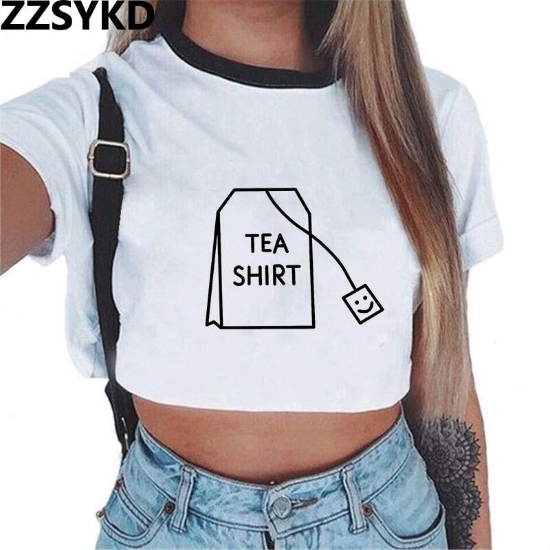 ZZSYKD 2018 Summer Streetwear White Crop Top Women Cropped T Shirt Tank Tops Tees Transparent Print Clothes Short Sleeve