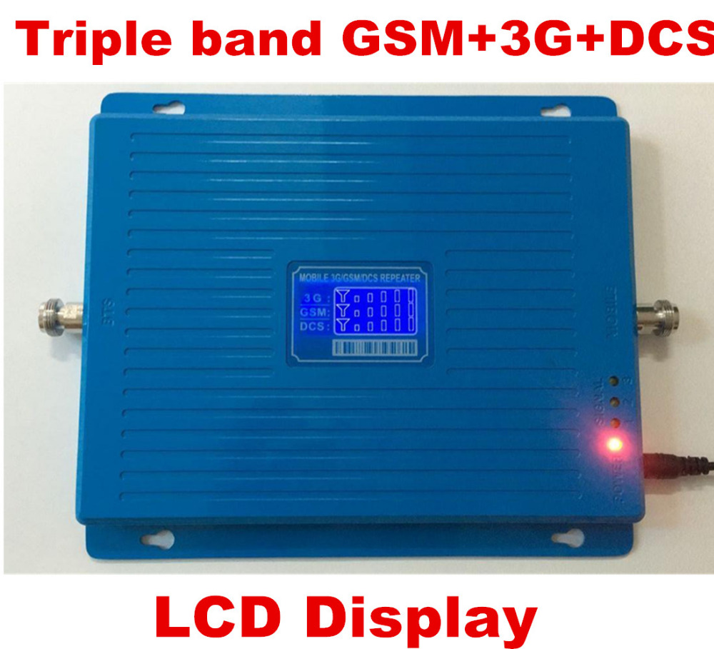 LCD Display Tri-Band Booster GSM 900 DCS 1800MHZ 3G 2100MHZ Cellphone Mobile Phone Signal Amplifier Cell Phone RepeaterLCD Display Tri-Band Booster GSM 900 DCS 1800MHZ 3G 2100MHZ Cellphone Mobile Phone Signal Amplifier Cell Phone Repeater
