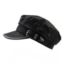 Casual Cotton Beret Hat Men Women Military PU Leather Belt Vintage Metal Buckle Fashion Beach Caps Visor Flat Top