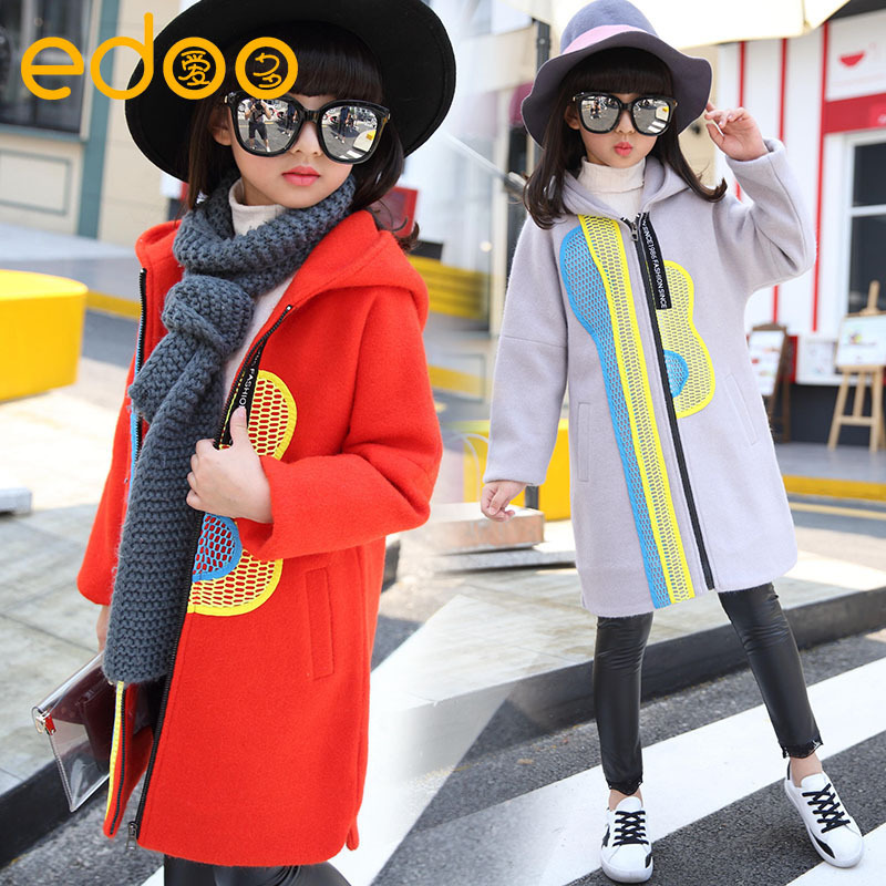 ФОТО Girl Loose Coat Autumn And Winter New Pattern Girl Originality Fund Long Sleeve Even Cap Collision Woollen Overcoat