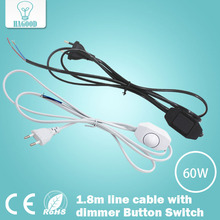 Light dimmer Cord wire Light Switching Plug Power Button switch 1.8m Line Cable LED Lamp 1 8m eu us plug switch line cable on off power cord for led lamp with button switch light switching white black wire extension