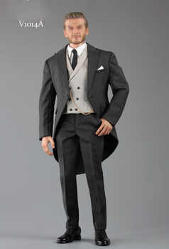 1/6 scale handsome business suit male V1014B 1/6 Gentlemen\'s suit with waistcoat and leather shoes for 12\' narrow shoulder body