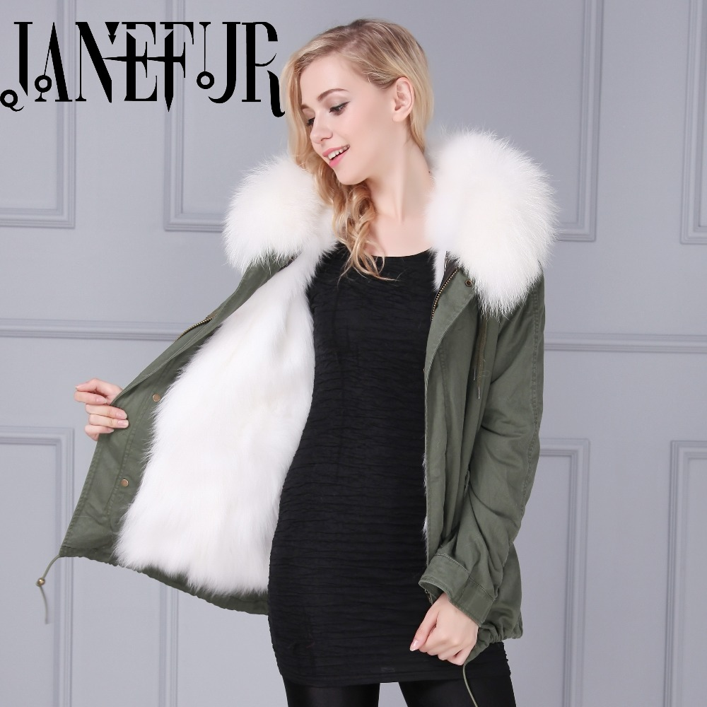 Women outwear thick parkas real fox fur lining winter jacket coat With oversized natural Raccoon Fur Collar 2017 winter new clothes to overcome the coat of women in the long reed rabbit hair fur fur coat fox raccoon fur collar
