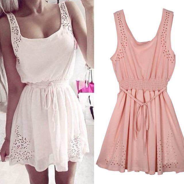 2016 new sexy mulheres vestidos sem mangas fino oco mulheres summer dress lady 2 cor branca chiffon mini vestidos vestidos casuais