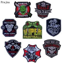 Prajna Punk Biker Patch Embroidered Patches For Clothing Iron On Clothes Rock DIY Badges Accessories