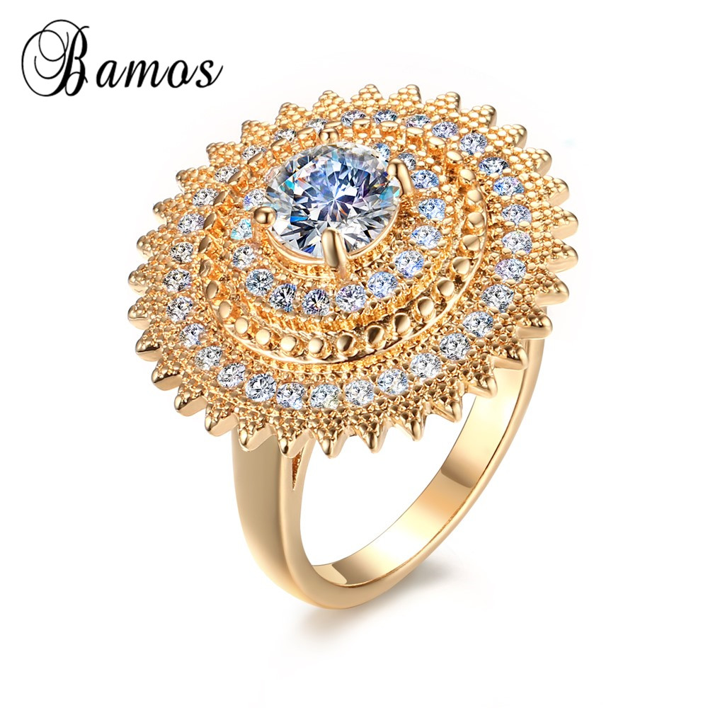 Korean Style Big Flower Style Yellow Gold Filled White AAA Zircon ...