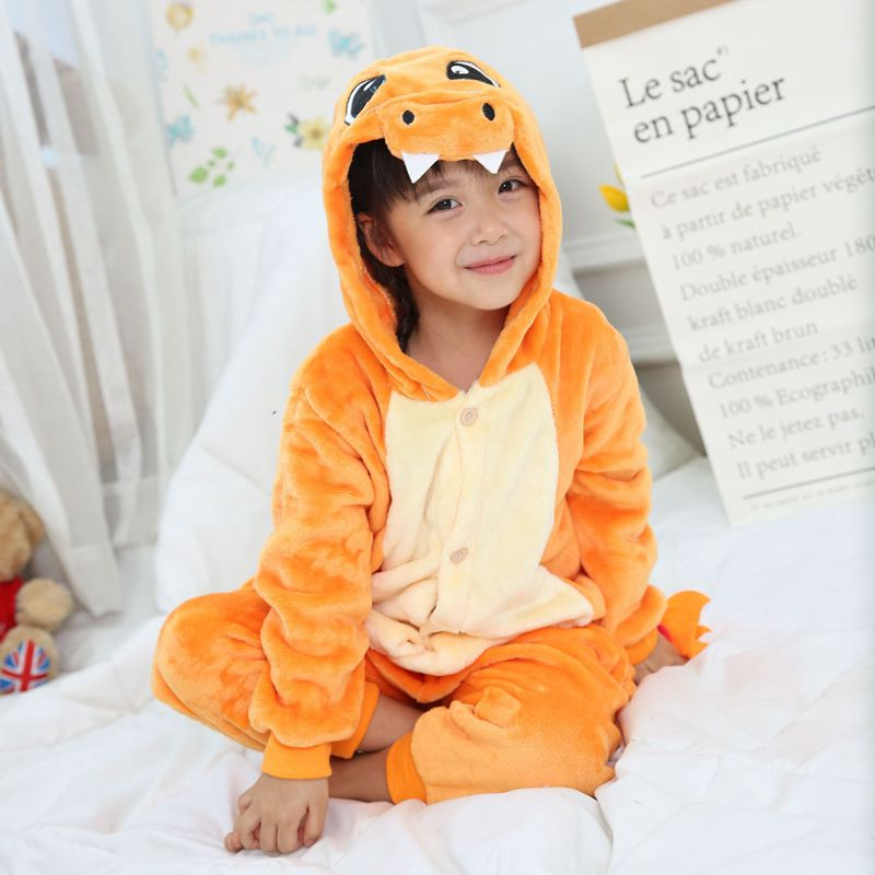 Kid Kigurumi Charmander Pajama for Girl New Year Winter Soft Jumpsuit Loose Hare Costume Kid Cosplay