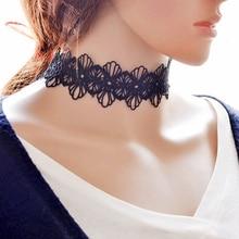 Moderní dámský krajkový náhrdelník v černé barvě