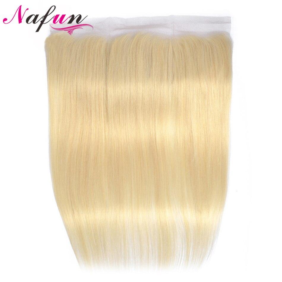 NAFUN 613 dentelle frontale fermeture oreille à oreille Blonde frontale cheveux humains frontale brésilienne cheveux raides 13*4 dentelle fermeture Non Remy