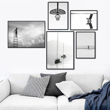 Black And White Canvas Art Landscape Painting Sea Posters And Prints Living Room Poster Sky Nature Paintings Landscape Unframed unframed sea wave and beach pattern canvas paintings