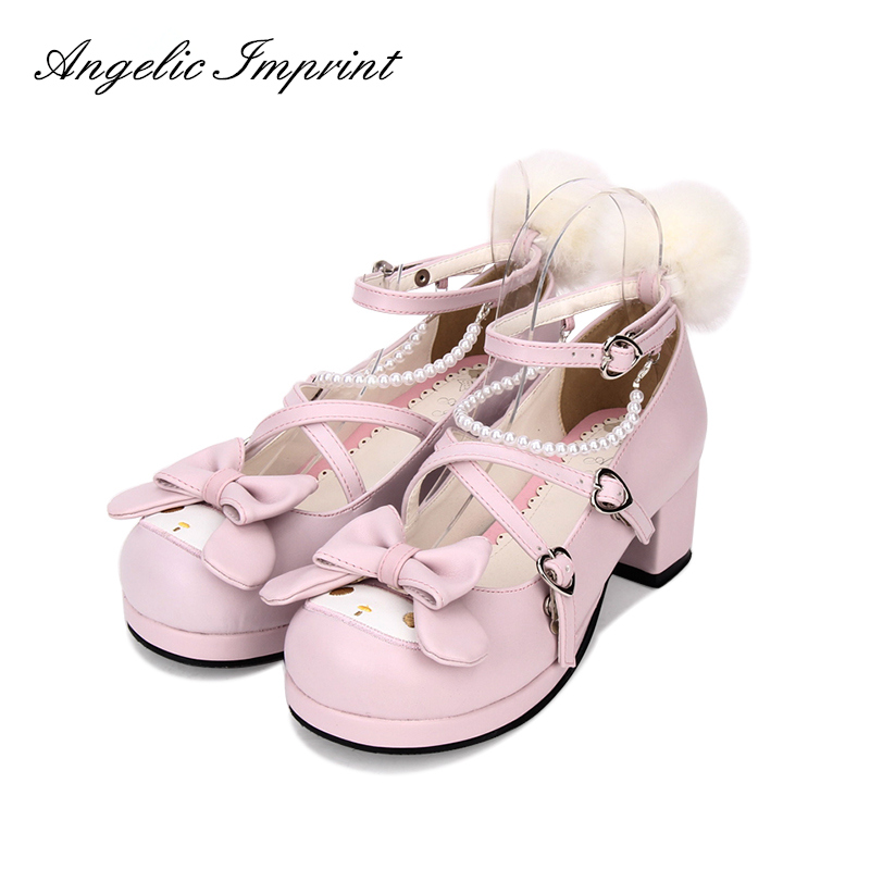 Filles mignon lapin croix sangle chaussures rose Chunky talons doux Lolita Cosplay chaussures-in Escarpins femme from Chaussures    1