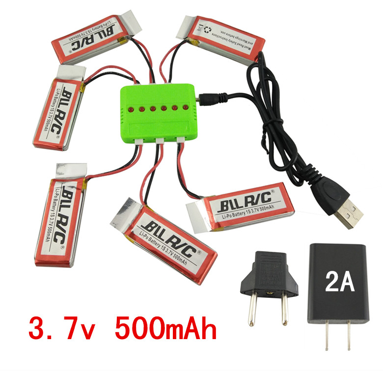 BLLRC helicopter lithium battery 6PCS 3.7V 500mah and 6-in-1 charger hubsan X4 H107 H107C/D SYMA X5C X5SW aircraft spare parts 3pcs battery and european regulation charger with 1 cable 3 line for mjx b3 helicopter 7 4v 1800mah 25c aircraft parts xt30