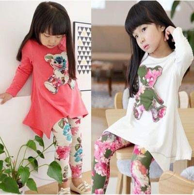 New Girls Clothing Sets Children Cartoon bear Clothes Sets Baby Girls Casual Printing Long T Shirt Pants Suits Kids Clothes new next fall girls graffiti sets european and american style printing zipper cardigan cartoon princess hot sale children s sets