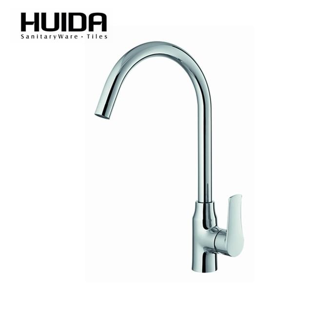 Huida Bathroom Long Neck Kitchen Faucet Brass Contemporary Single