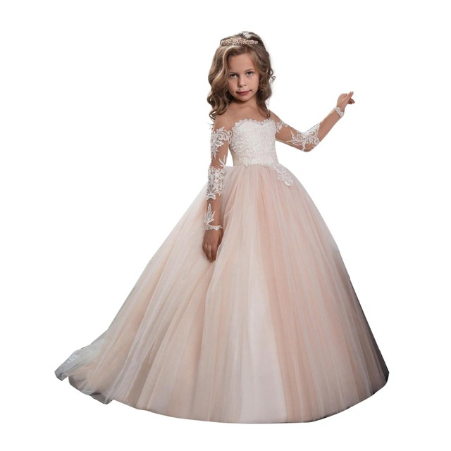 1e8e7acdbba54 Pink Little Girl Ball Gown Appliqued Long Sleeve Flower Girls Dresses For  Children Prom Birthday Girls