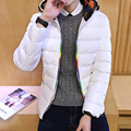 new 2016 men's winter fashion Korean temperament Slim solid color men's all-match comfortable zipper hooded thick cotton jacket