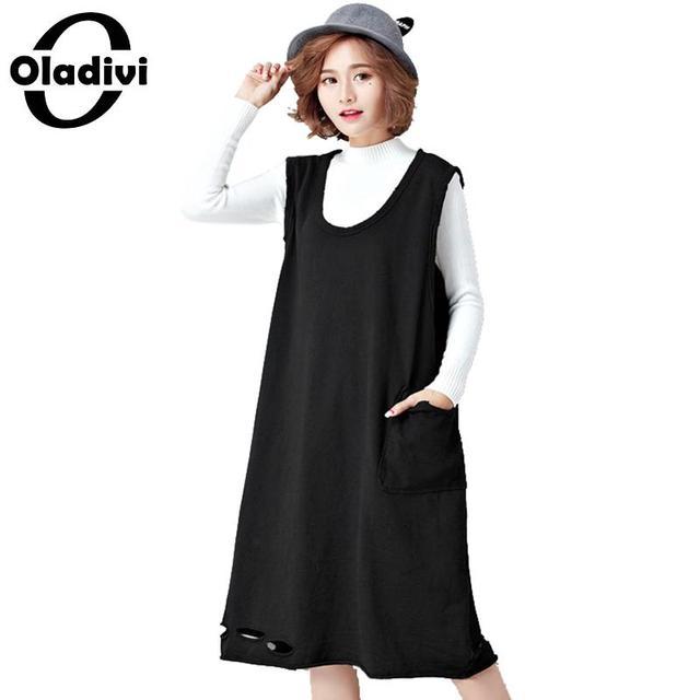 ecea03bfc44 Oladivi 2018 Autumn Spring Tank Tops for Women Cute Simple Black Dress  Female Sleeveless Vest Dresses Ladies Sundress Plus Size