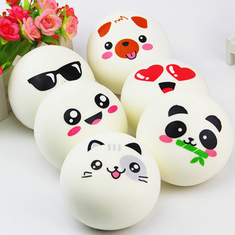 Super Cute Car Ornaments Panda Expression Pendant Ornaments in Car Soft Toy Rubber Decompression Kid Toys Car Accessories 10CM