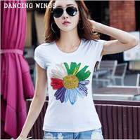 Summer flower print short sleeve tshirts cotton women hot drilling tees casual round neck white T shirts plus size tops