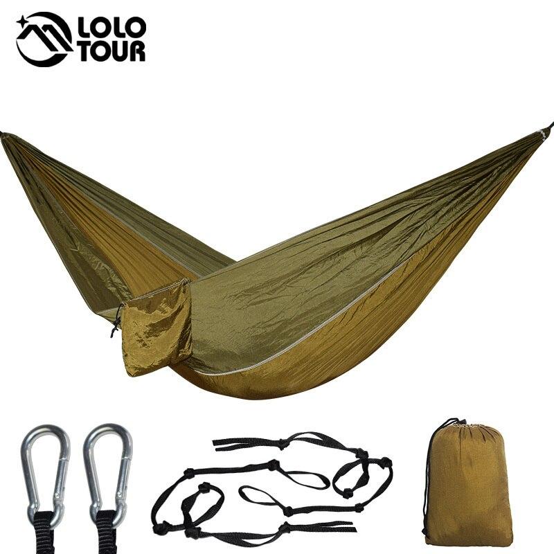 все цены на Outdoor Hammock With 3 Meters Tree Ropes Nylon Folding Ultralight Portable Hammocks For Travel Campus Leisure 270*140CM онлайн
