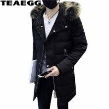 TEAEGG Black Parka Hombre Faux Fur Collar Winter Jackets For Men Clothing Jaquetas Masculina Inverno Thick Winter Man Coat AL524