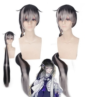 130cm Touken Ranbu Online Anime Long Cosplay Wig With Bangs Synthetic Black Grey Ombre Hair Woman Wigs For Party