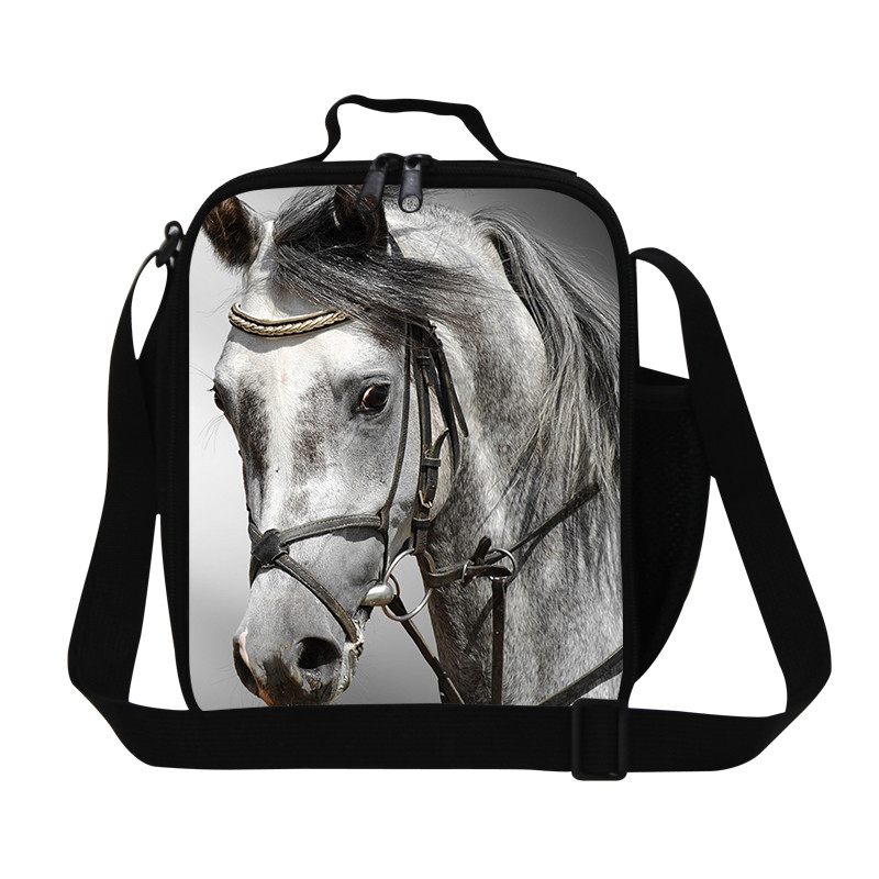 New large Insulated lunch picnic bag for women animal zoo horse print lunchbags for kids cute thermal lunch box bolsa termica