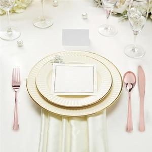 Image 3 - Disposable Dinnerware Set Gold/Silver/Rose Gold Knife/Fork/Spoon Coffee Restaurant Tableware Dining Spoon For European Dessert
