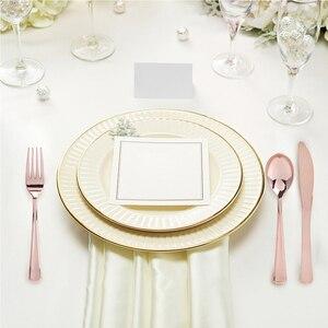 Image 3 - Jednorazowy zestaw obiadowy złoty/srebrny/różowe złoto nóż/widelec/łyżka kawiarnia zastawa stołowa jadalnia łyżka do europejskiego deseru