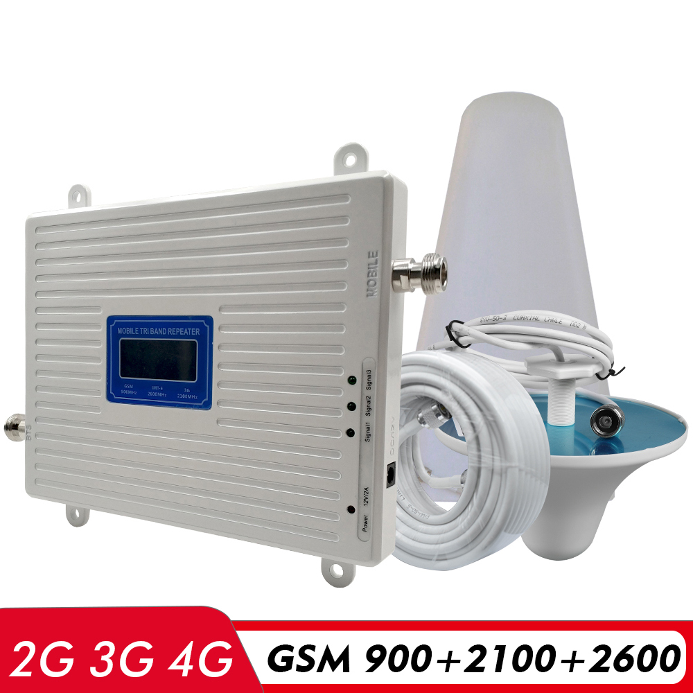 2G 3G 4G Tri Band Signal Booster GSM 900 UMTS WCDMA 2100 FDD LTE 2600 Cell