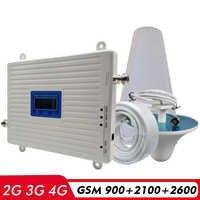 2G 3G 4G трехполосный усилитель сигнала GSM 900 + UMTS/WCDMA 2100 + FDD LTE 2600 повторитель сигнала для сотового телефона комплект антенн усилителя сотовой св...