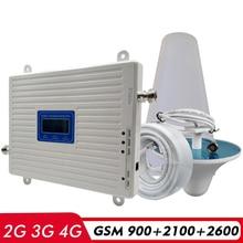 2g 3g 4g tri banda sinal impulsionador gsm 900 + umts/wcdma 2100 + fdd lte 2600 telefone celular repetidor de sinal amplificador antena conjunto