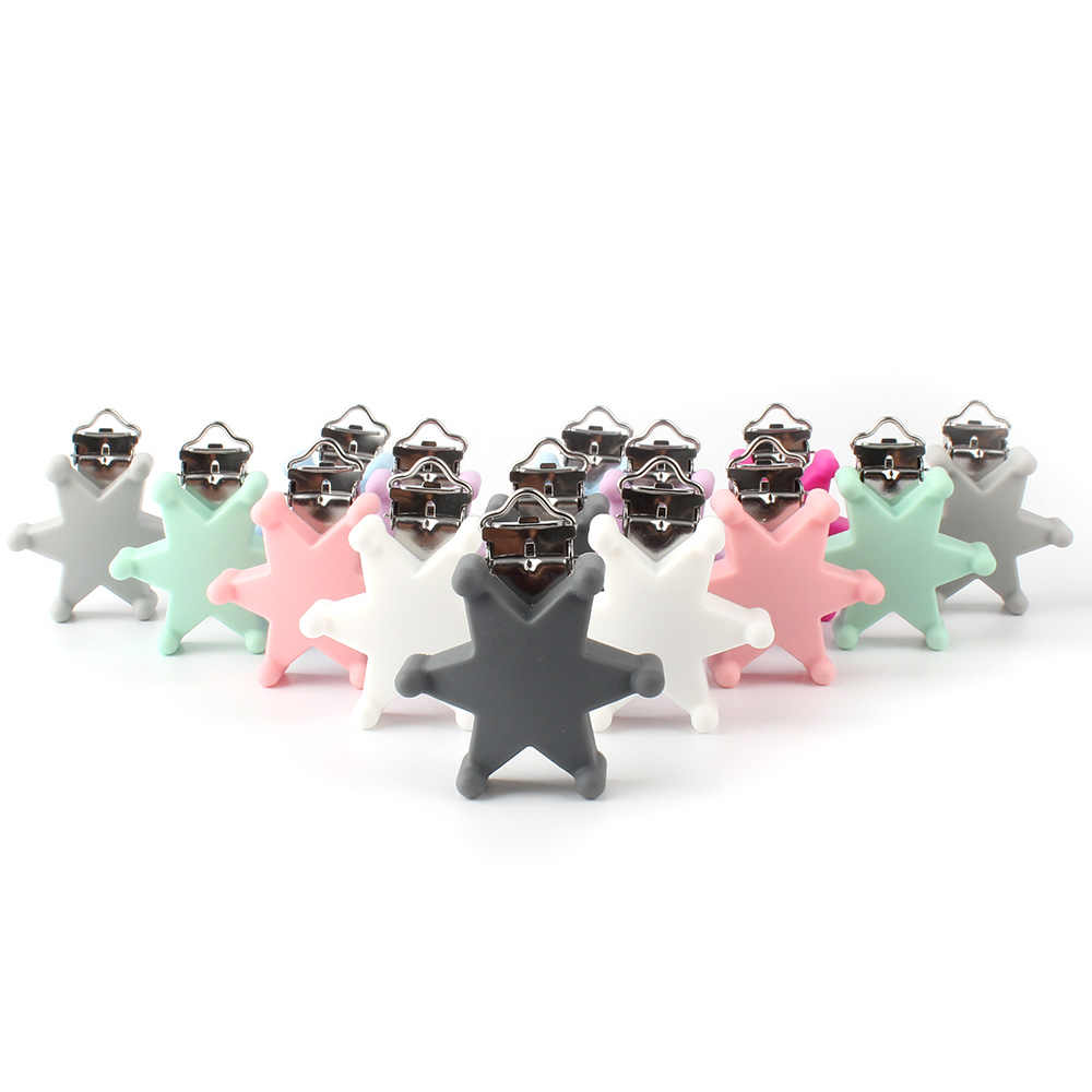 1 pc שישה כוכבים סיליקון teether מתכת קליפ סיליקון אביזרי עבור מכרסמים מוצץ DIY תינוק Teether שרשרת תליון מהדק